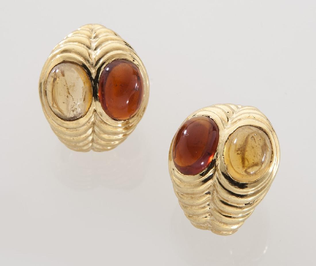 Pair of Bulgari 18K gold and citrine earrings