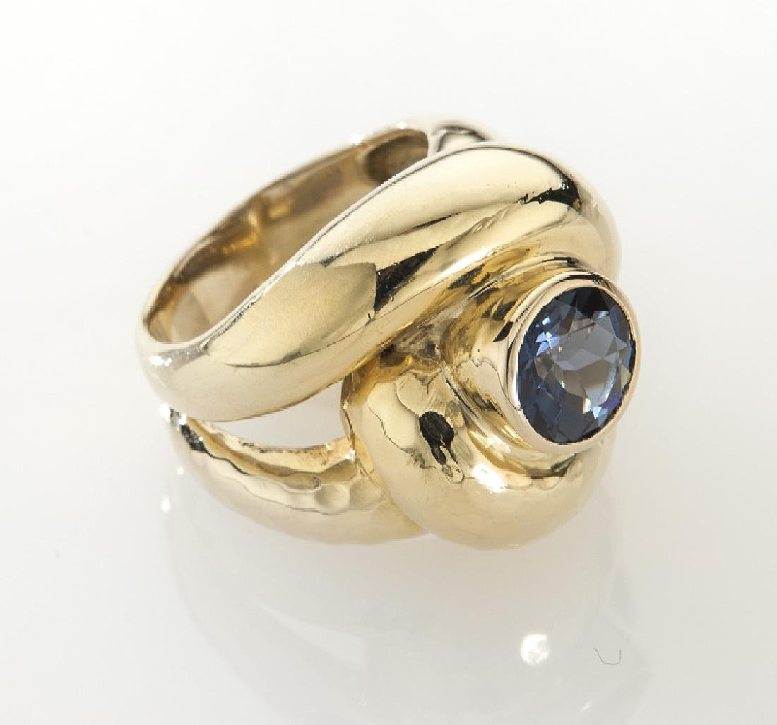 Andrew Clunn 18K gold and tourmaline dinner ring.