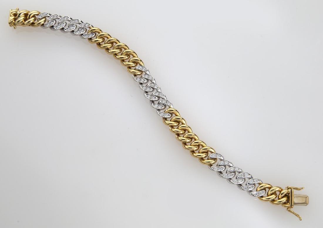 Handarbeit 18K gold and diamond link bracelet. - 2