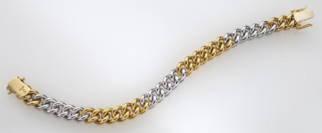 Handarbeit 18K gold and diamond link bracelet. - 3