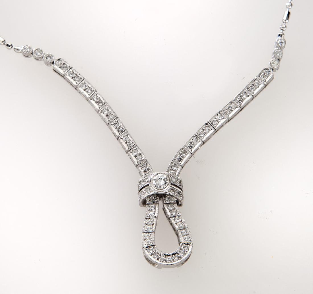 Italian 18K gold and diamond necklace. - 2