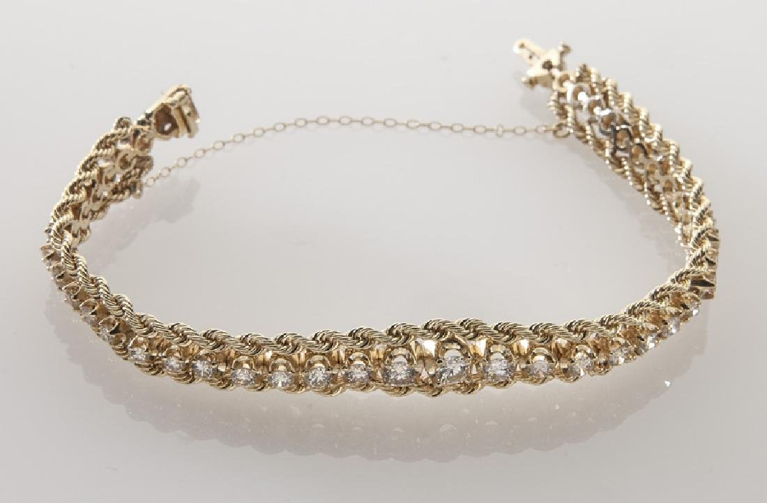 14K gold and diamond bracelet - 3