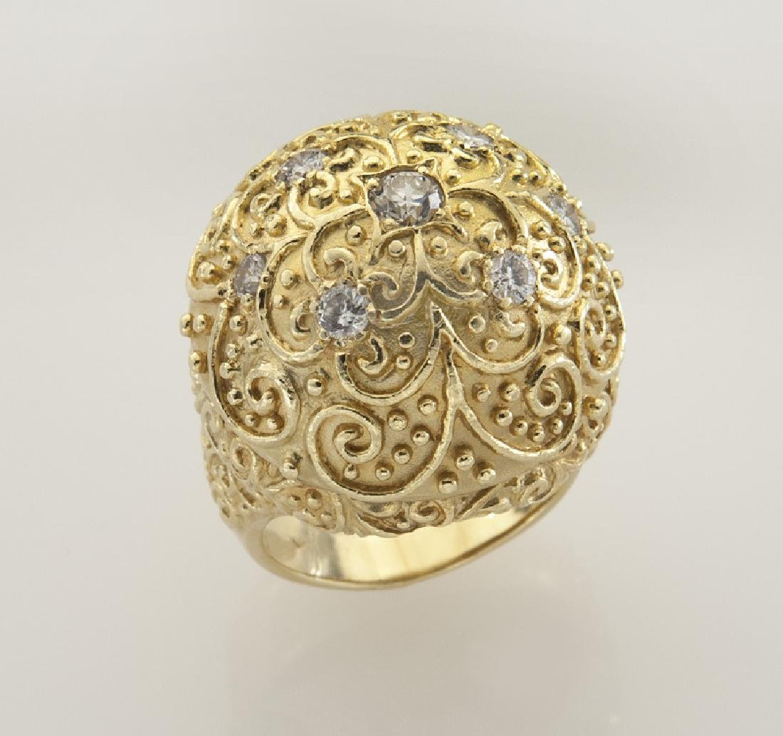 18K gold and diamond dome ring with filigree