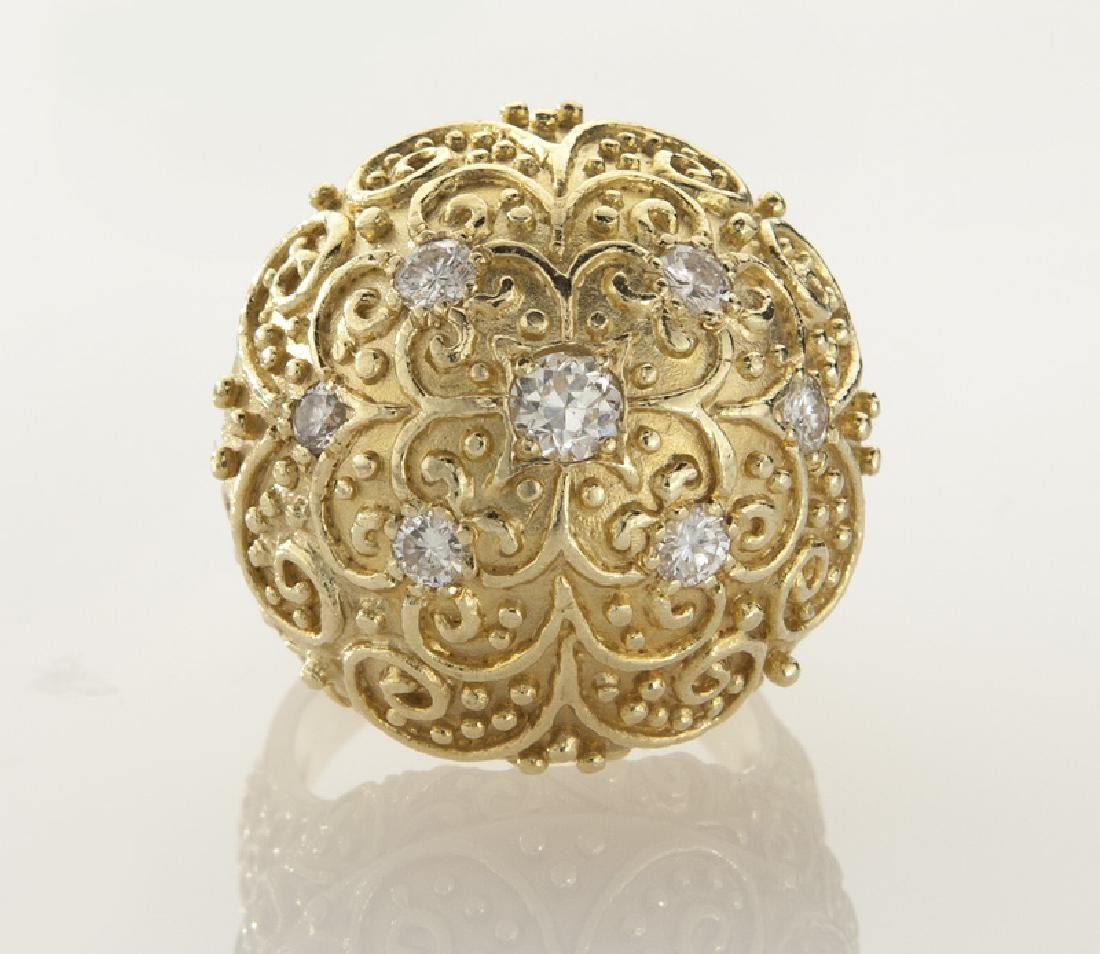 18K gold and diamond dome ring with filigree - 2