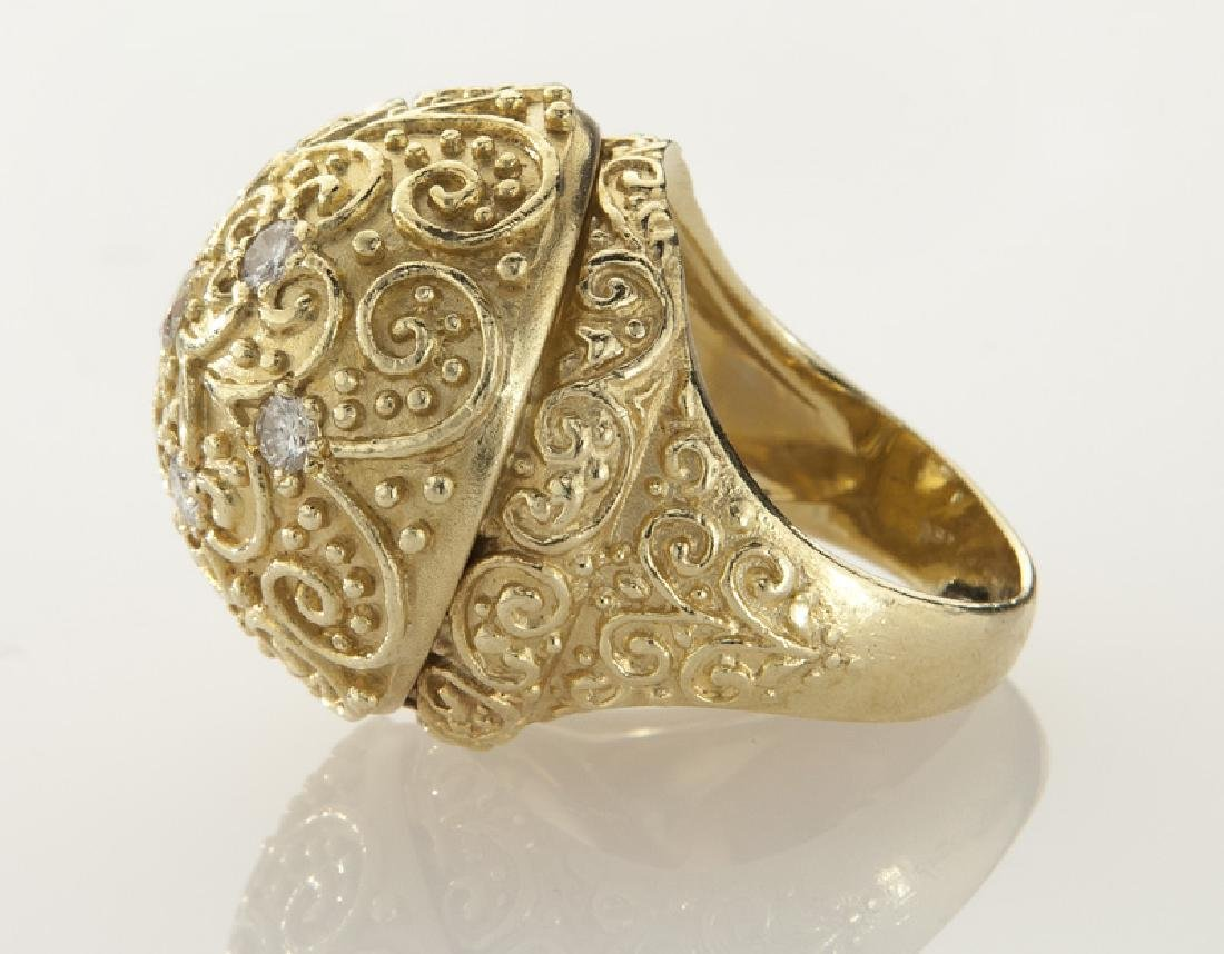 18K gold and diamond dome ring with filigree - 3