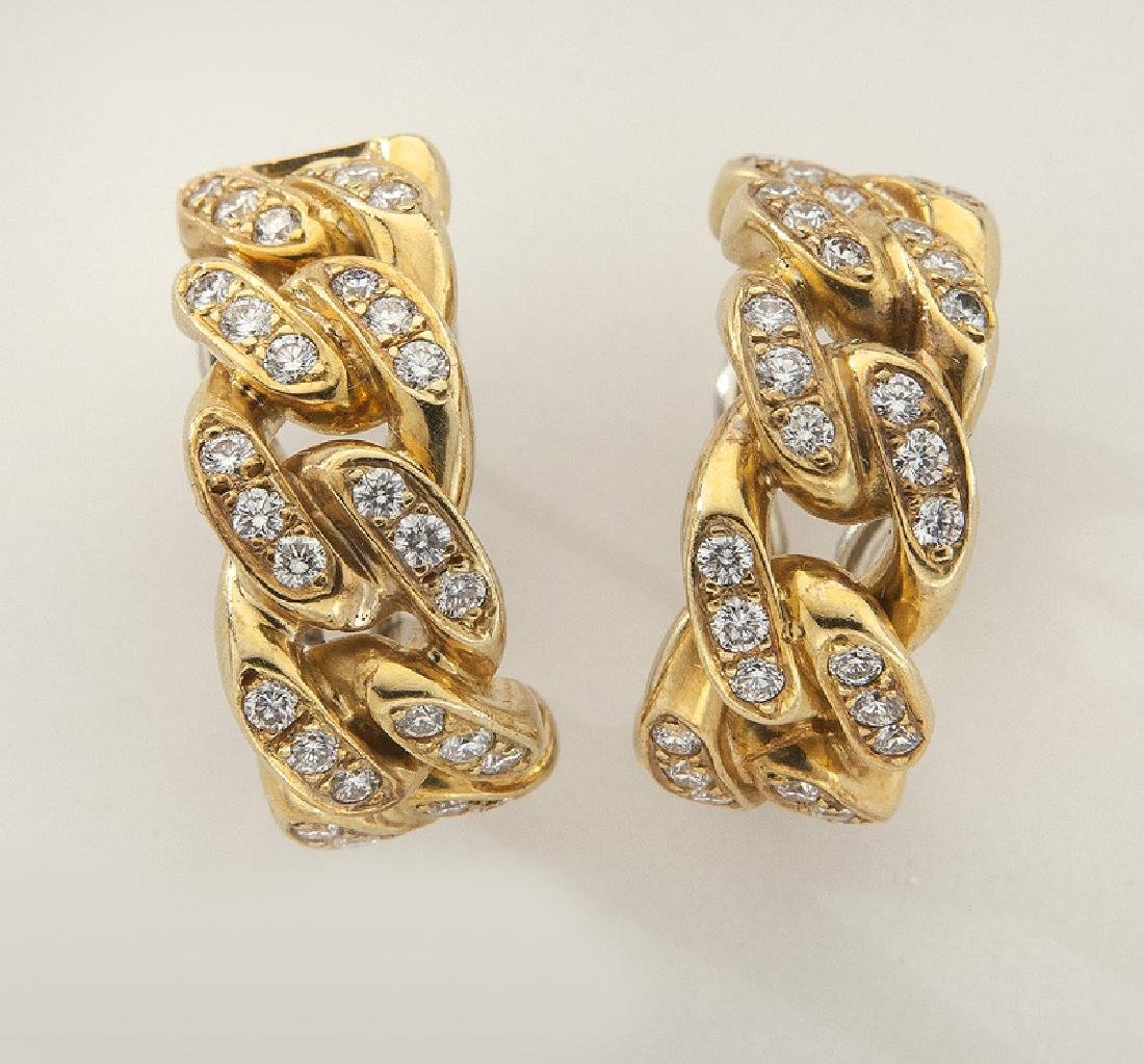 Pair of 14K gold and diamond link hoop earrings