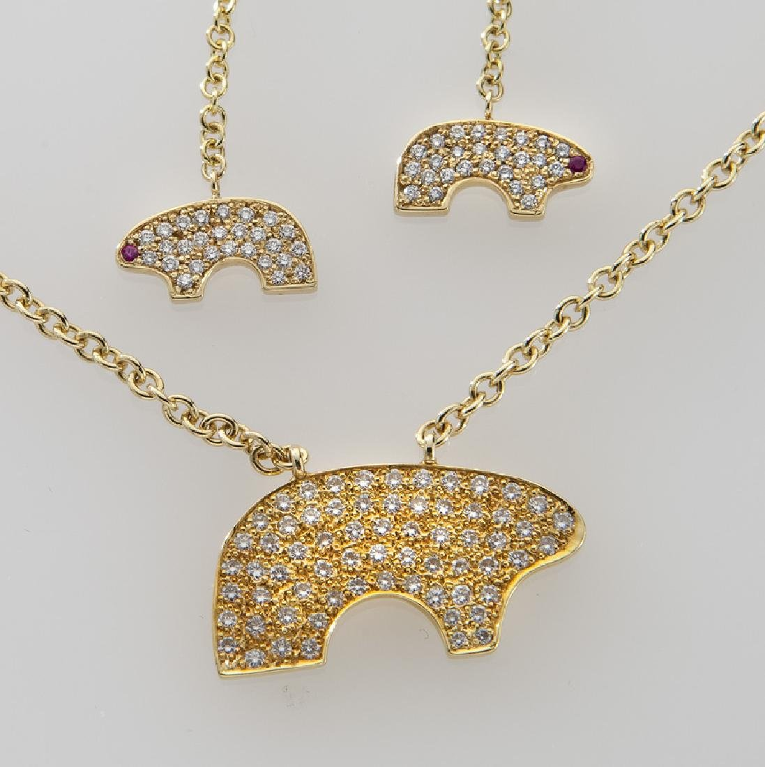 18K gold, diamond and ruby bear suite - 2