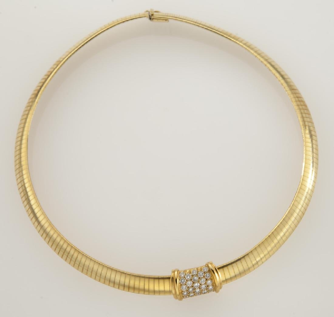 18K and diamond choker with removable pendant.