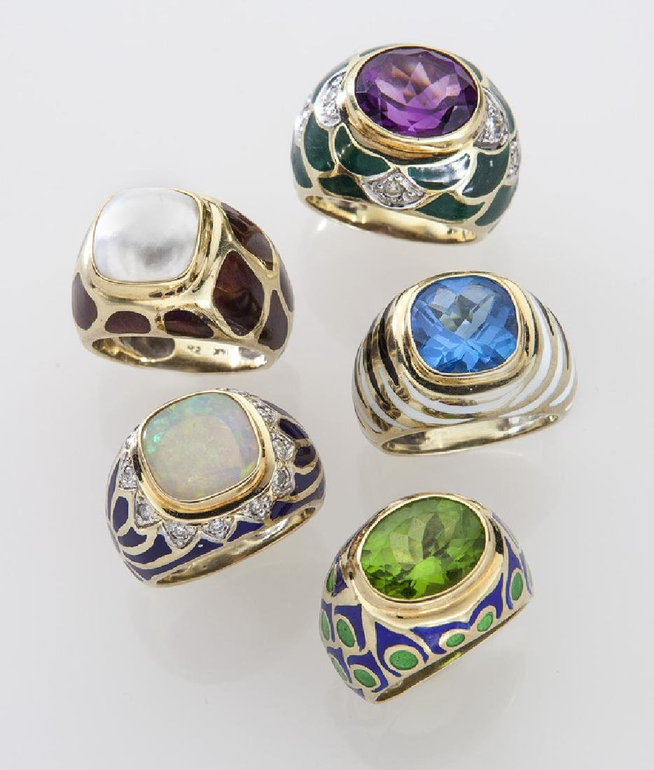 (5) 14K gold and enamel rings with various stones.