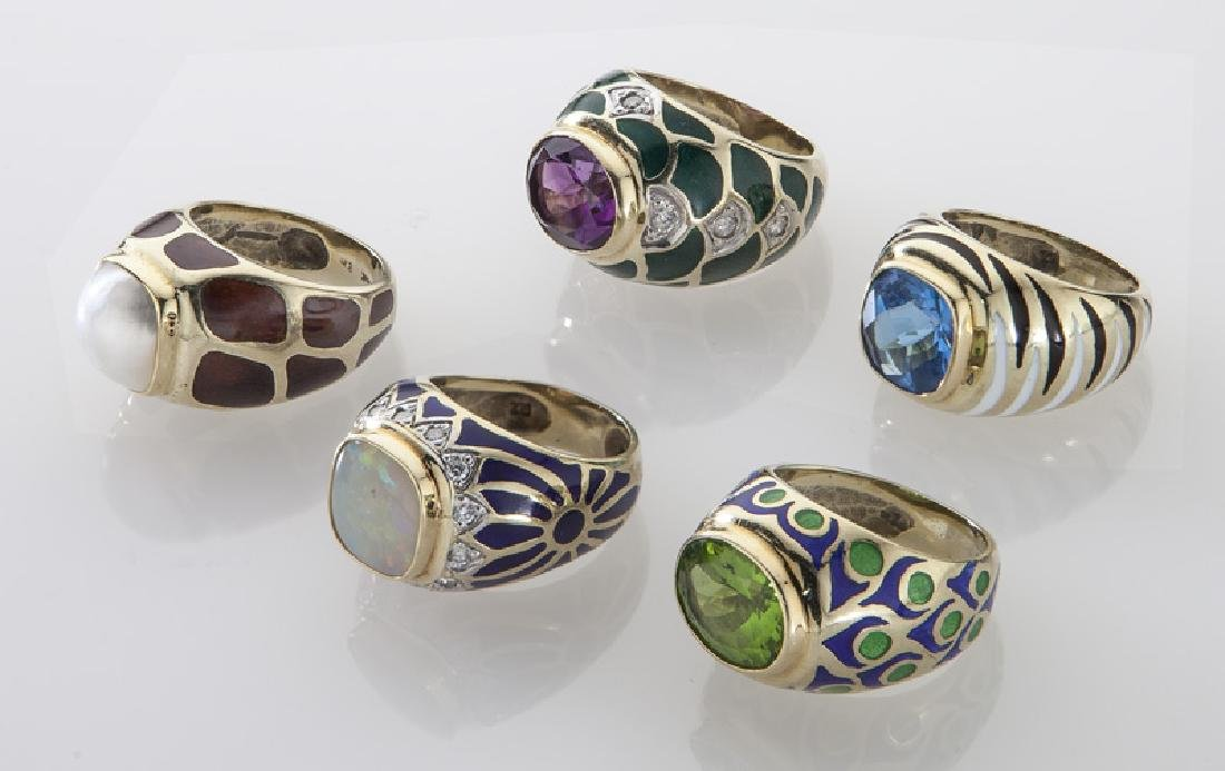 (5) 14K gold and enamel rings with various stones. - 2
