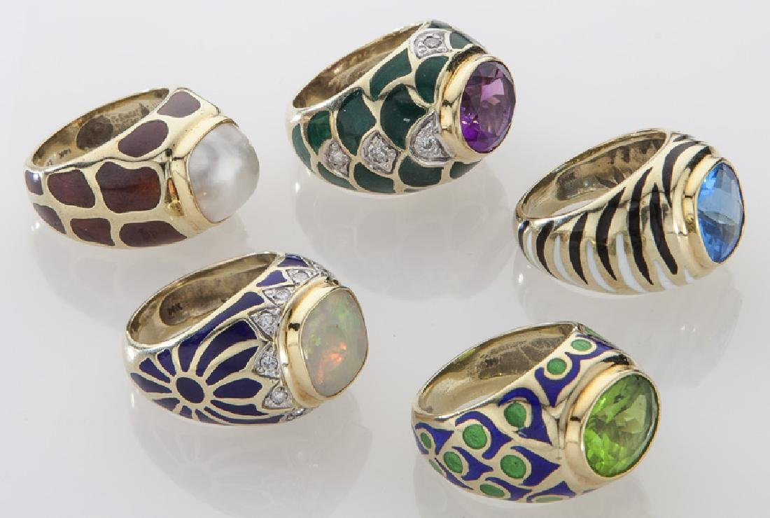 (5) 14K gold and enamel rings with various stones. - 3