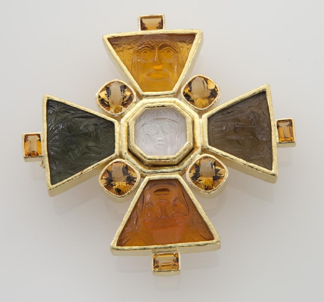 """Elizabeth Locke """"Bomarzo"""" pendant/brooch of 19K"""