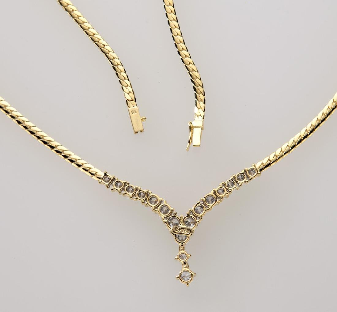 18K yellow gold and diamond necklace. - 3