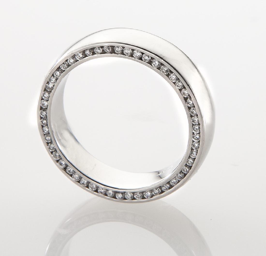 Platinum and diamond men's ring. - 3