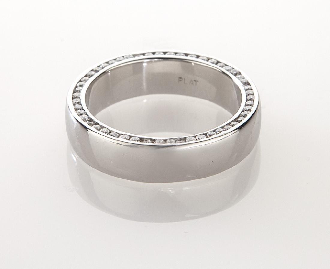 Platinum and diamond men's ring. - 4