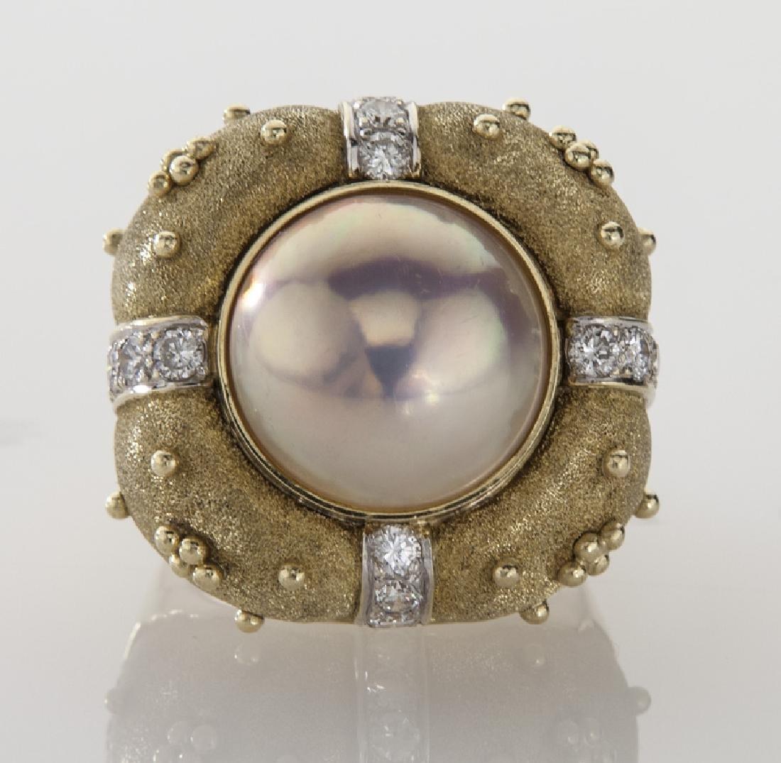 Robert Whiteside 18K gold, diamond and pearl - 2