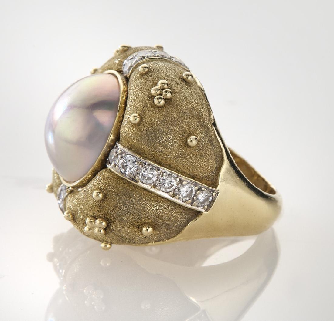 Robert Whiteside 18K gold, diamond and pearl - 3