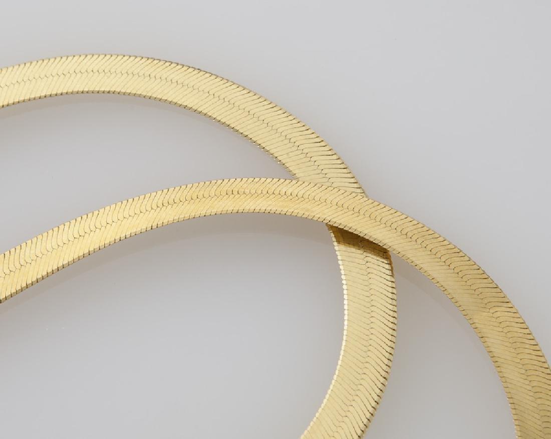 Pair 18K yellow gold herringbone chain necklaces. - 2