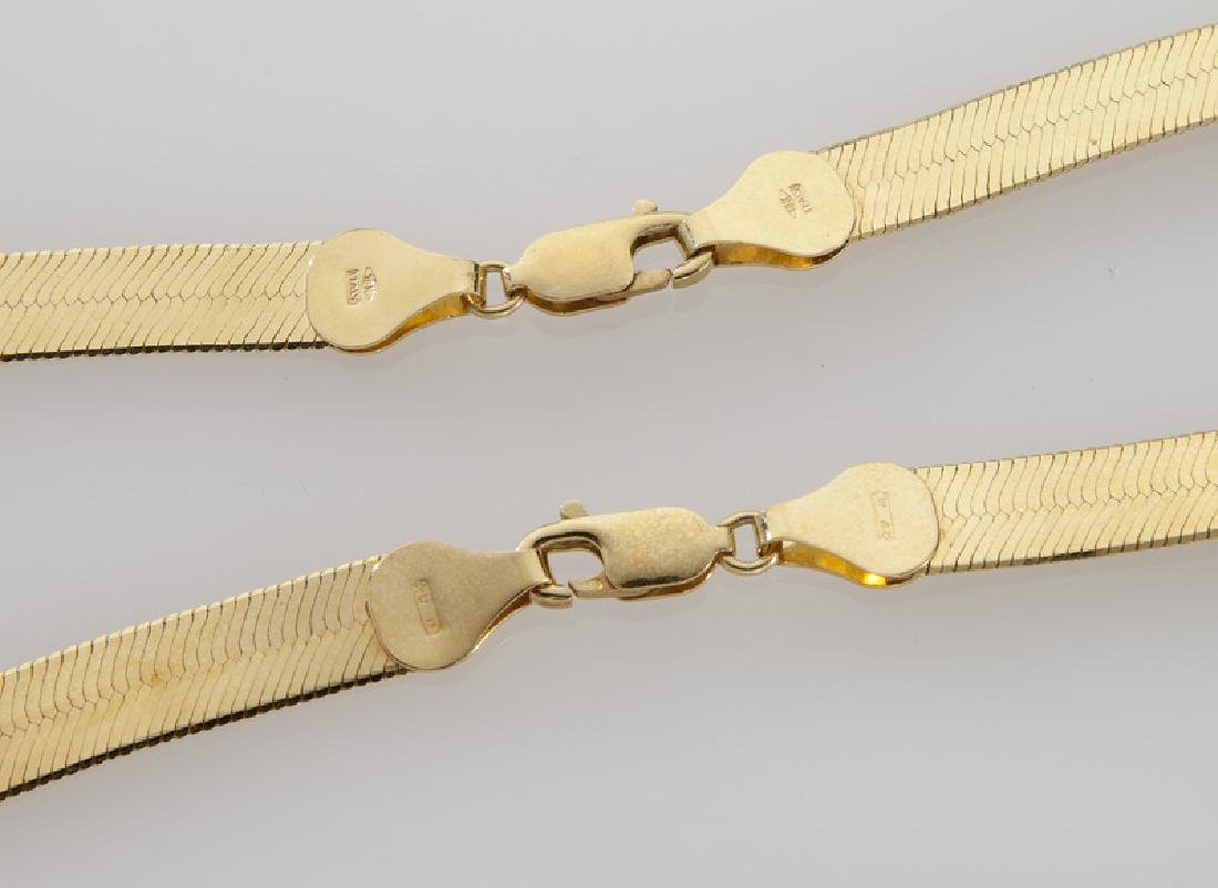 Pair 18K yellow gold herringbone chain necklaces. - 3