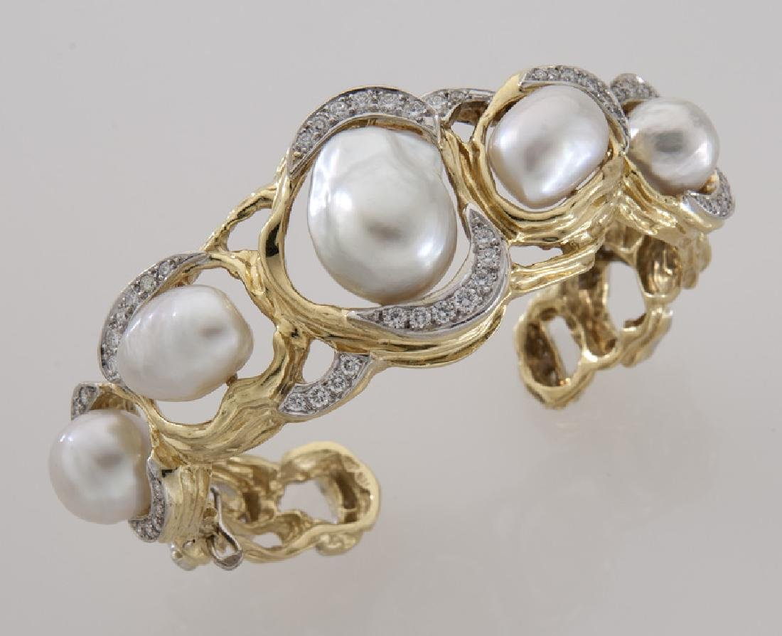 18K gold, diamond and South Sea cultured pearl