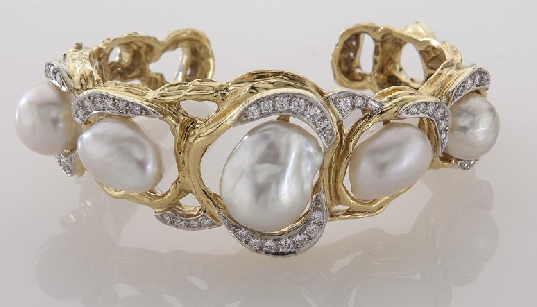 18K gold, diamond and South Sea cultured pearl - 2