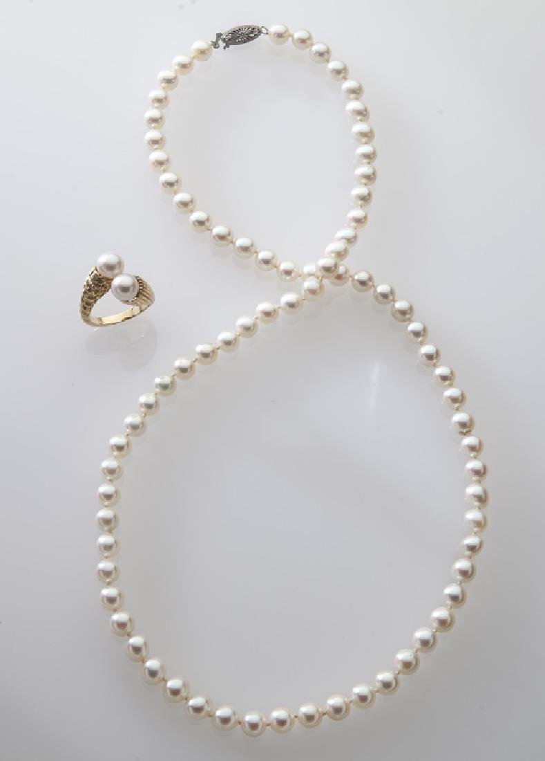 2 Pcs. 14K gold and pearl jewelry,