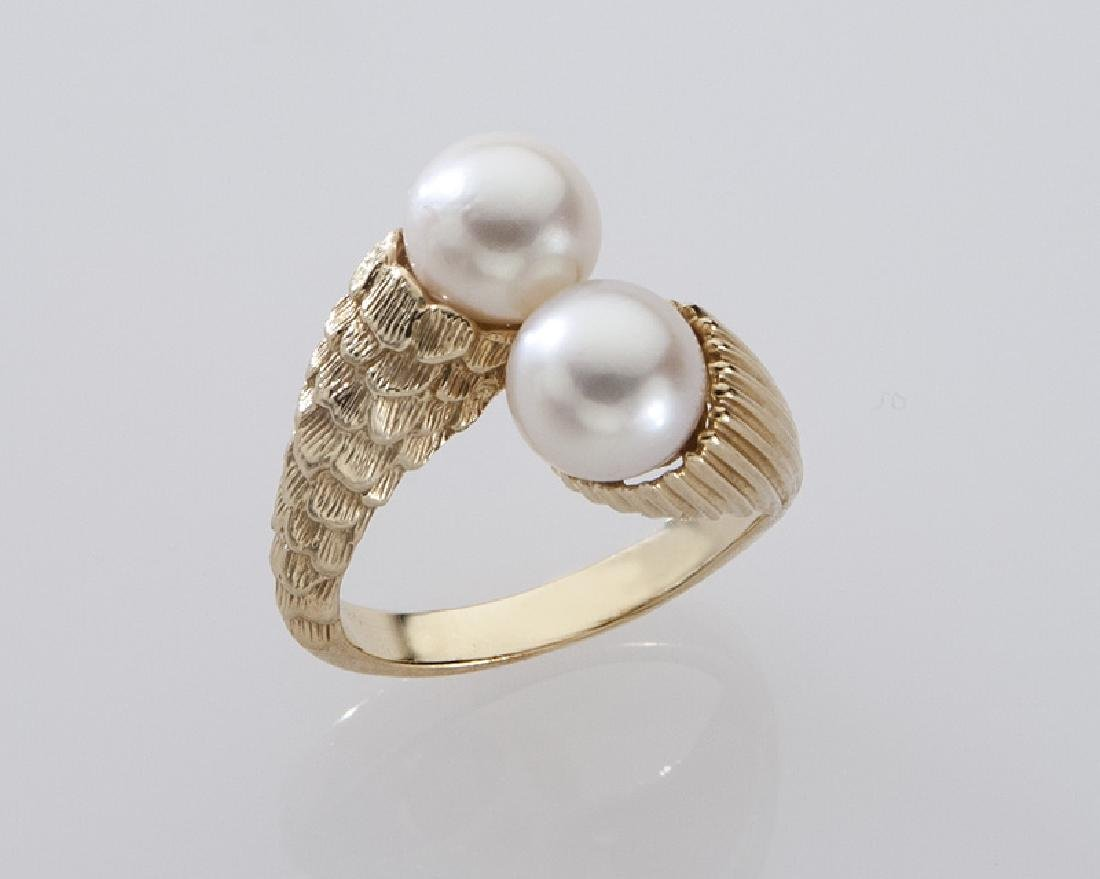 2 Pcs. 14K gold and pearl jewelry, - 2