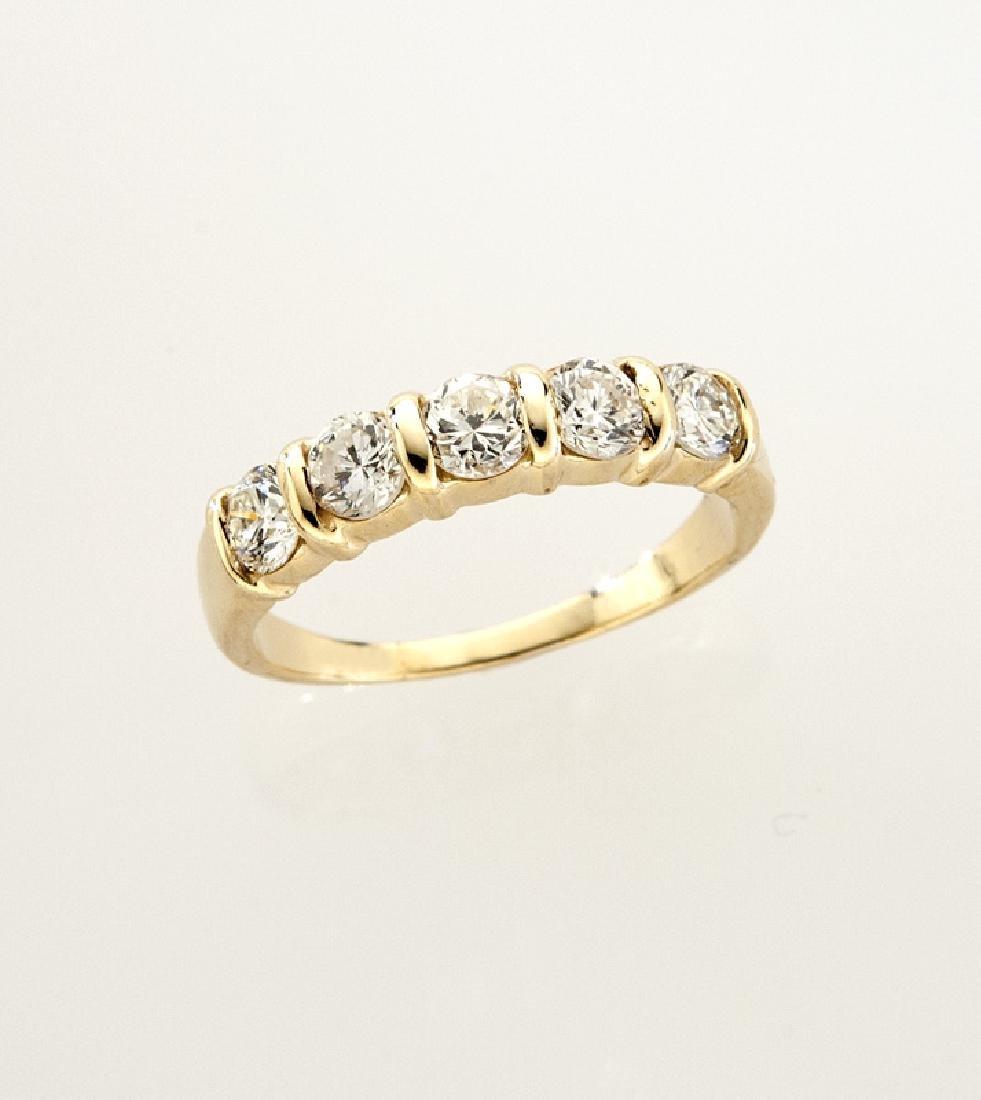 14K gold and diamond wedding band.