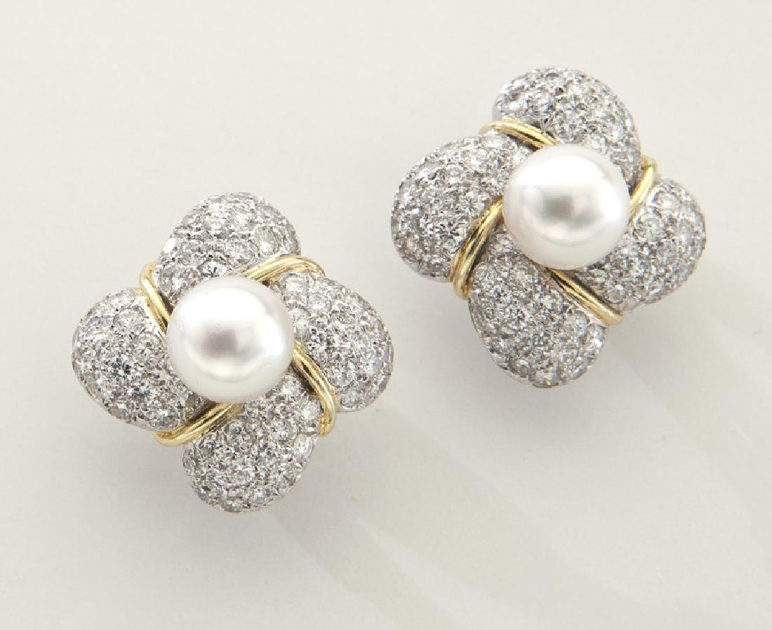 Pair of 18K gold, diamond and Akoya pearl earrings