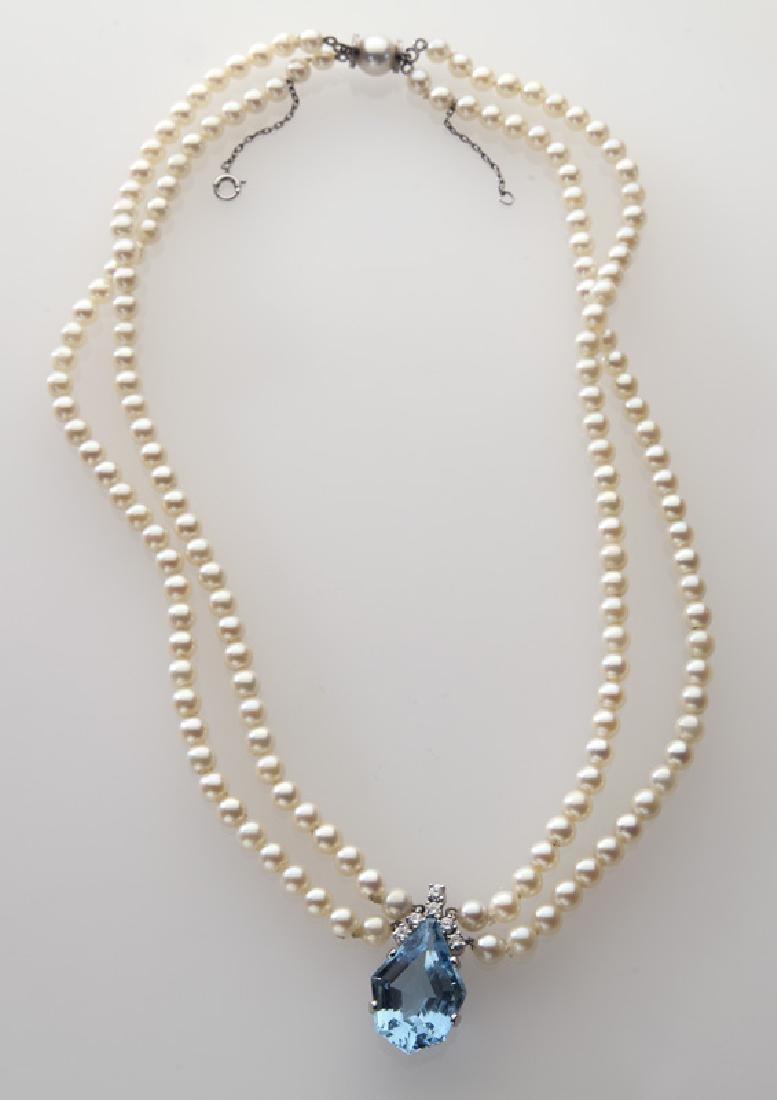 Platinum, diamond, pearl and aquamarine necklace