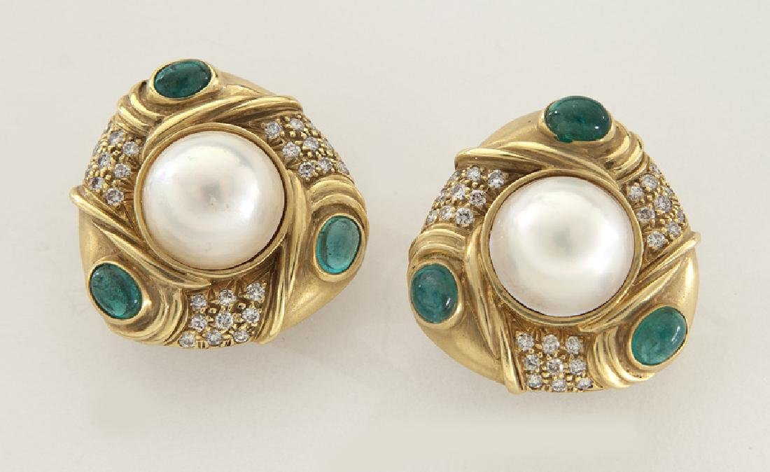 Pair of 18K gold, mabe pearl, diamond and emerald