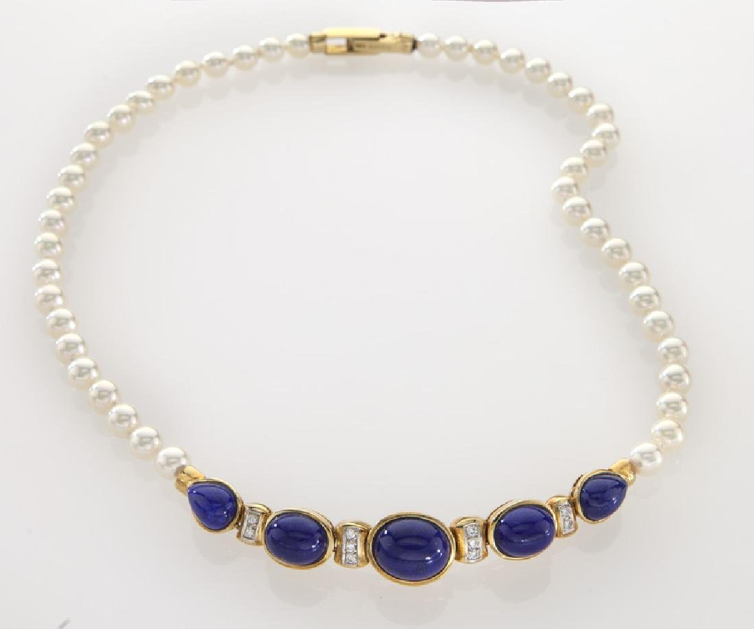 18K gold, diamond, lapis and pearl necklace,