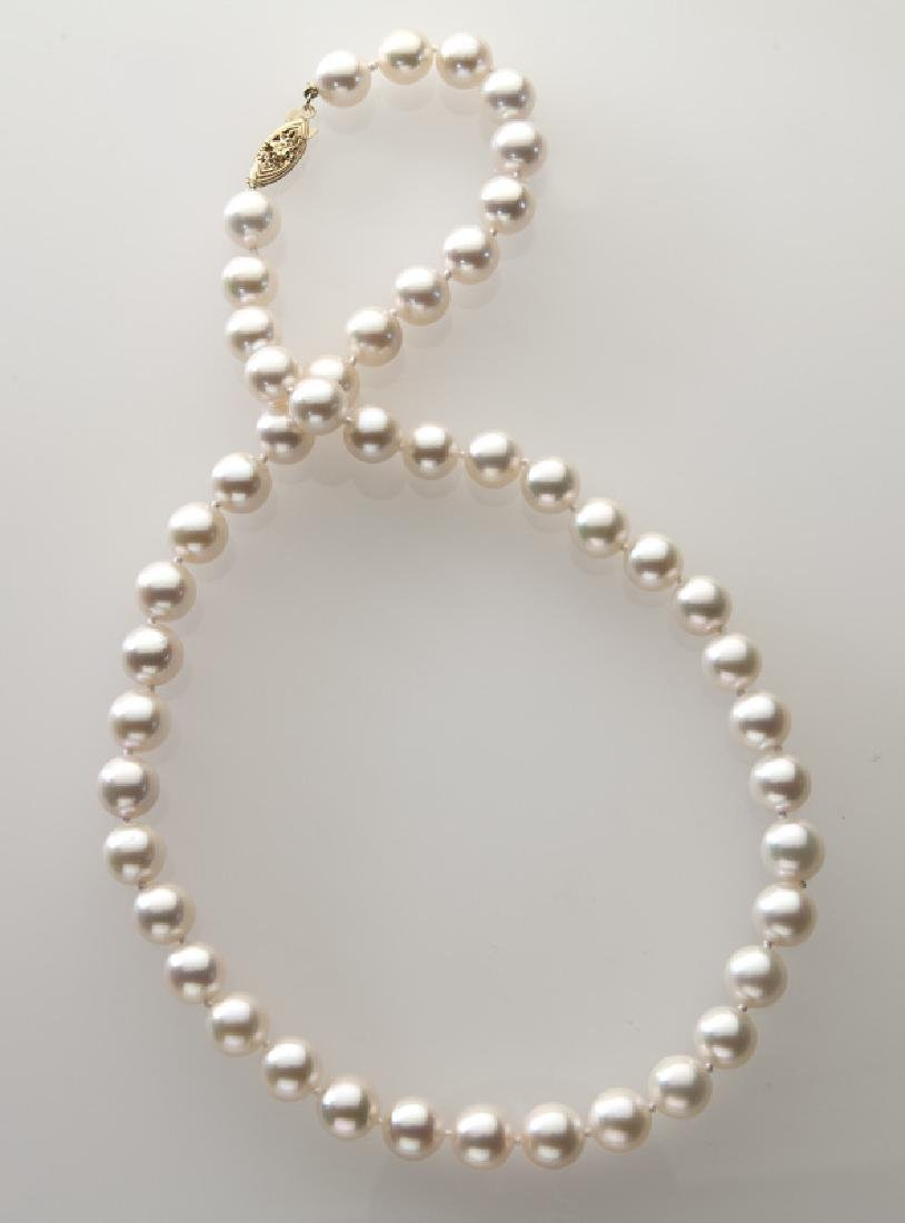 14K gold and pearl necklace,