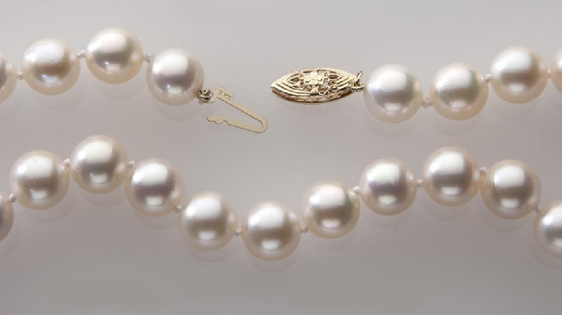 14K gold and pearl necklace, - 2