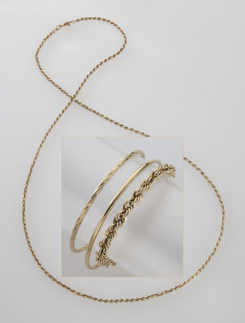 4 Pcs. 14K yellow gold jewelry