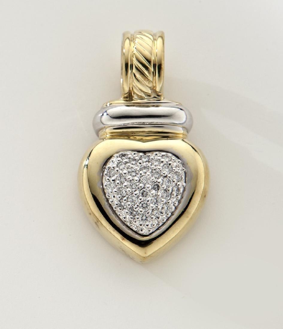 David Yurman 18K gold and diamond heart pendant.