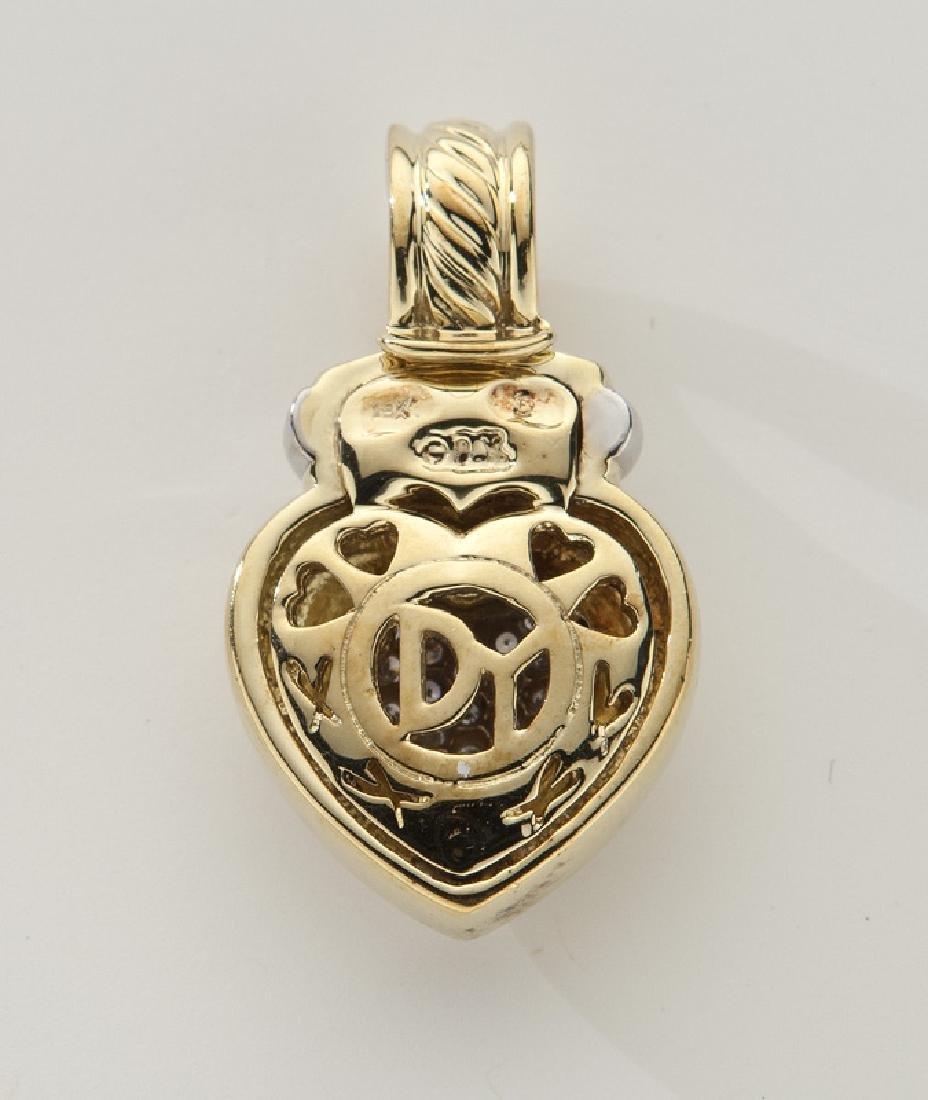 David Yurman 18K gold and diamond heart pendant. - 2
