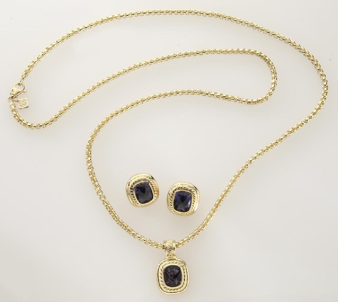 2 Pcs. David Yurman 18K gold and iolite jewelry