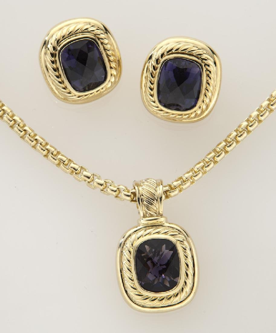 2 Pcs. David Yurman 18K gold and iolite jewelry - 2