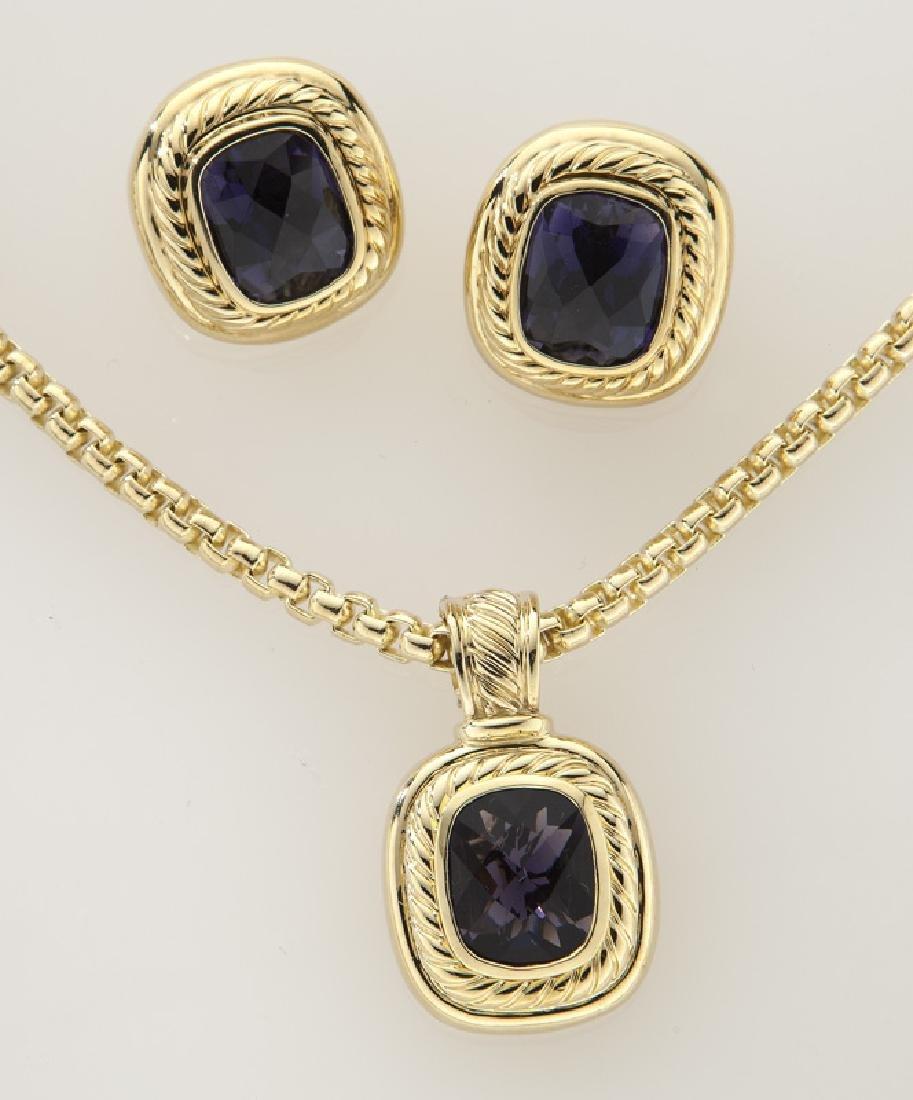 2 Pcs. David Yurman 18K gold and iolite jewelry - 2