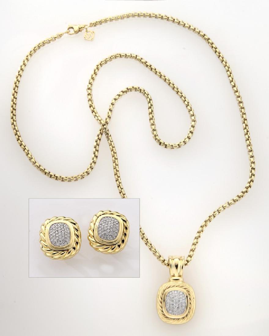 2 Pcs. David Yurman 18K gold and diamond jewelry