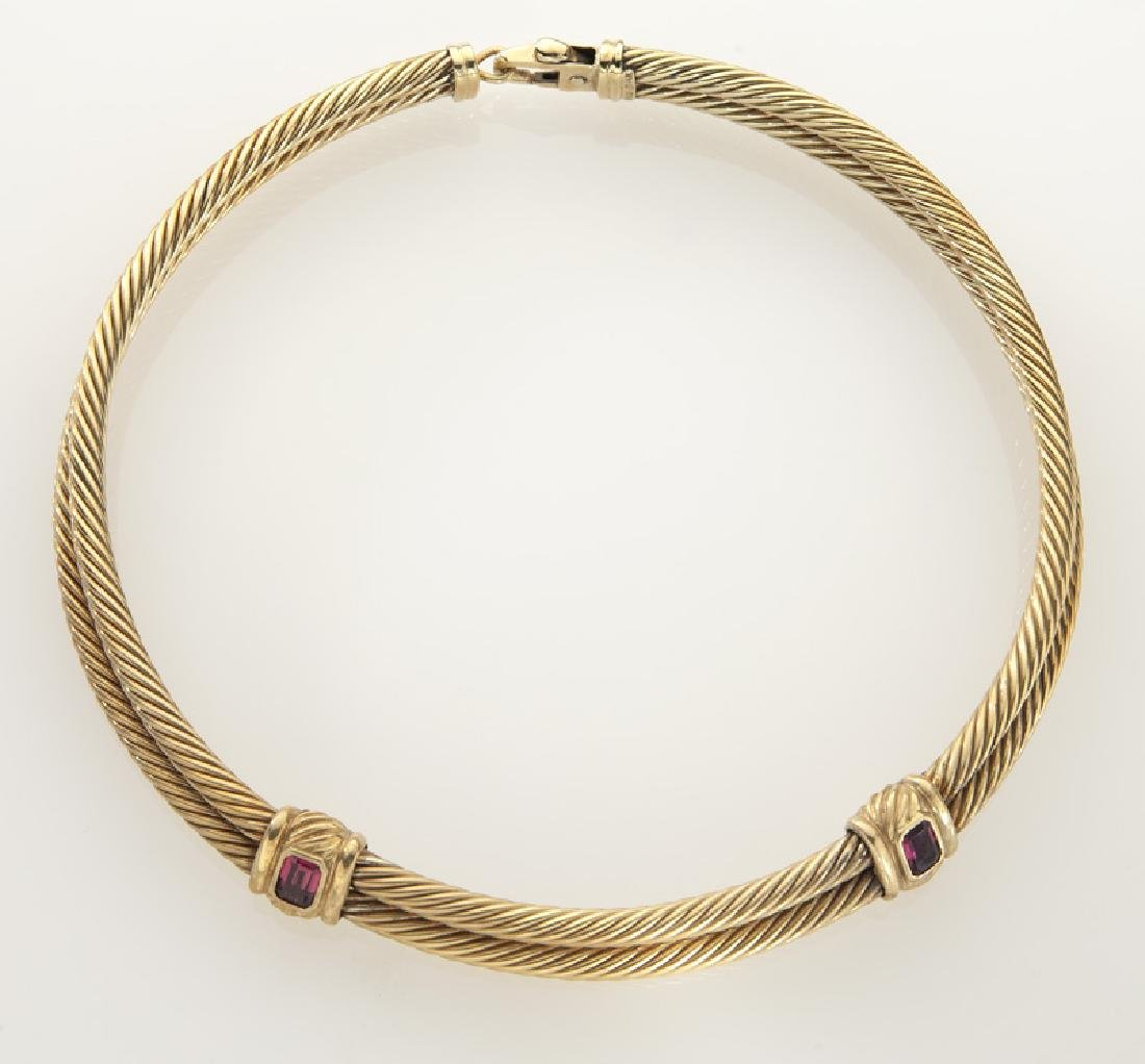 David Yurman 14K gold and tourmaline double cable