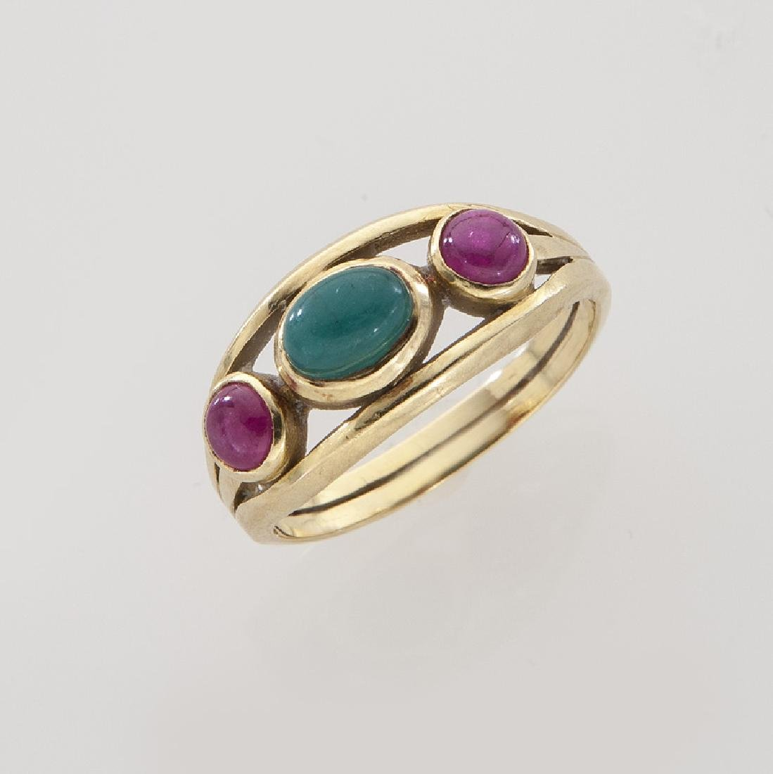 Lalaounis 18K, cabochon cut emerald and ruby ring.