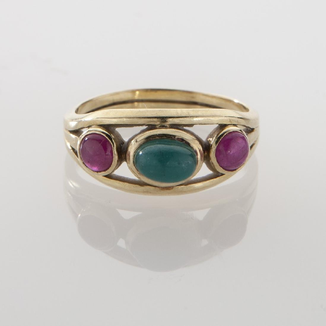 Lalaounis 18K, cabochon cut emerald and ruby ring. - 2