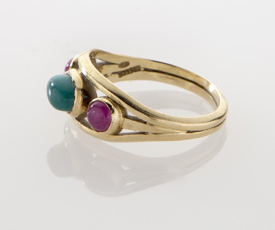 Lalaounis 18K, cabochon cut emerald and ruby ring. - 3