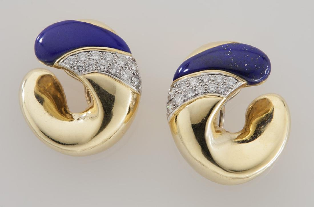 Pair of 18K gold, diamond and lapis earrings