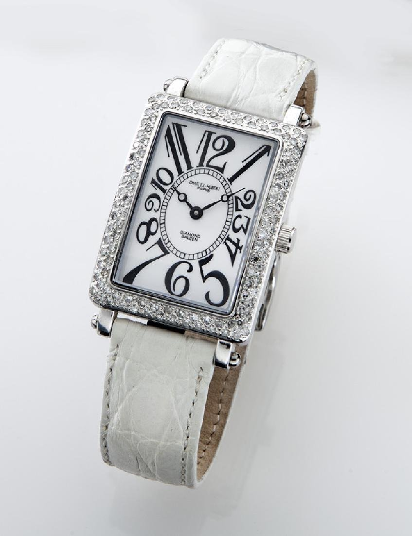 Charles Hubert stainless steel and diamond watch