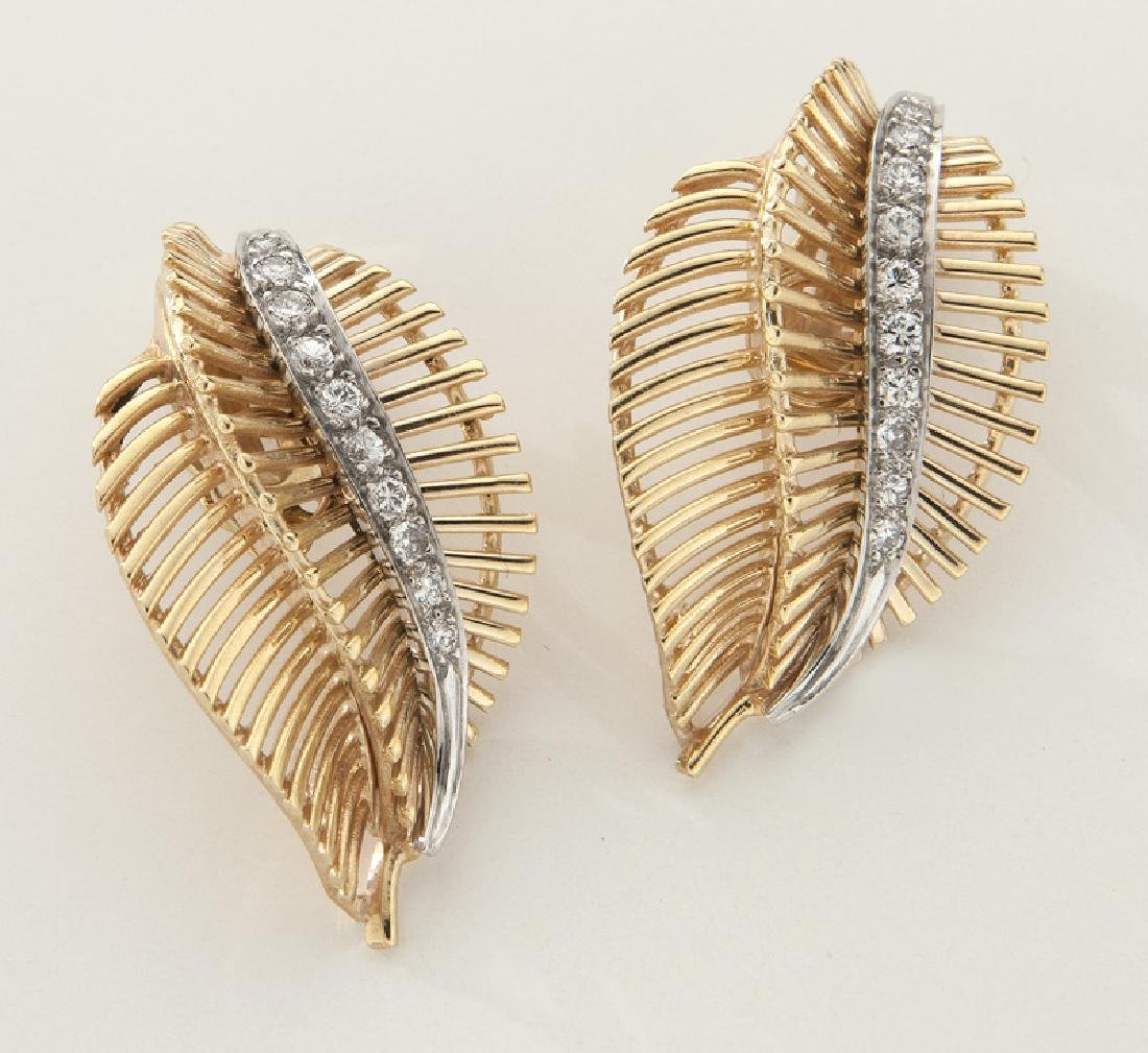 Pair of 14K rose gold and diamond leaf earrings