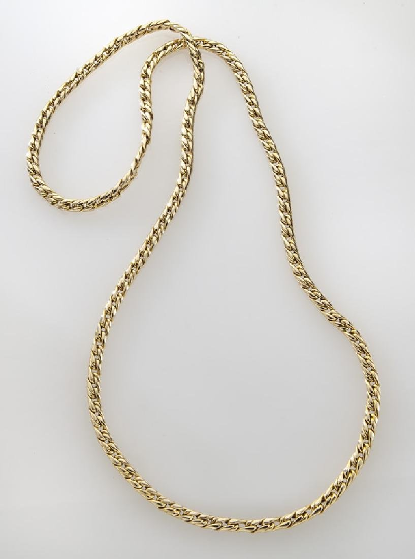 14K yellow gold cable link necklace.