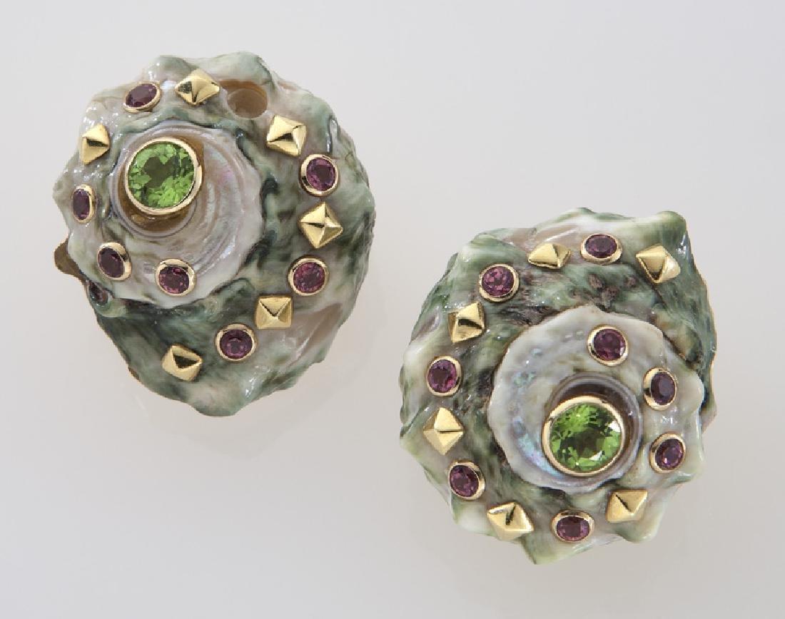 Trianon 14K, seashell and gemstone earrings